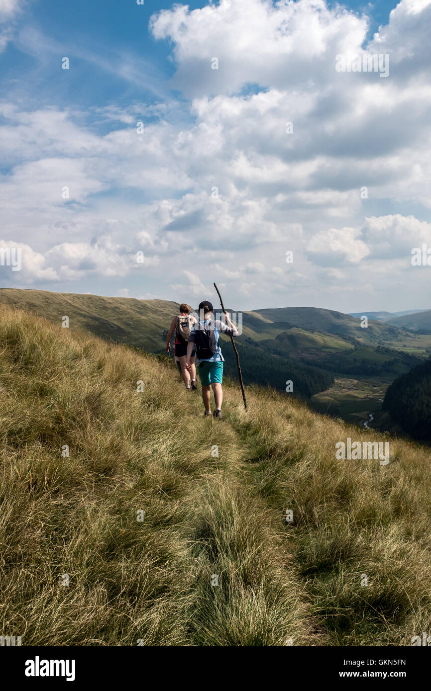 Young boy and family walking in the Peak District - Stock Image