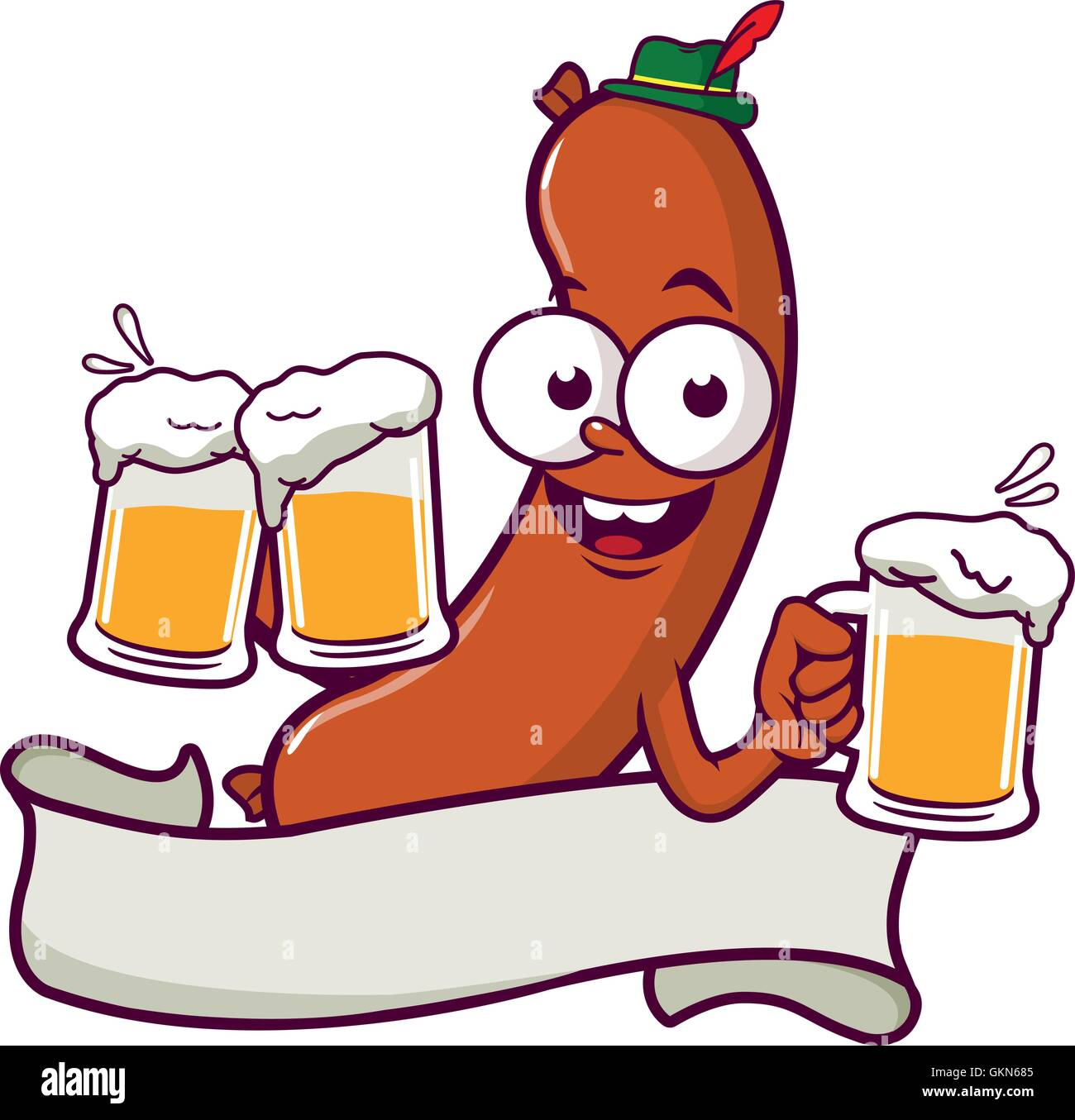 Cartoon Sausage serving beer. - Stock Photo