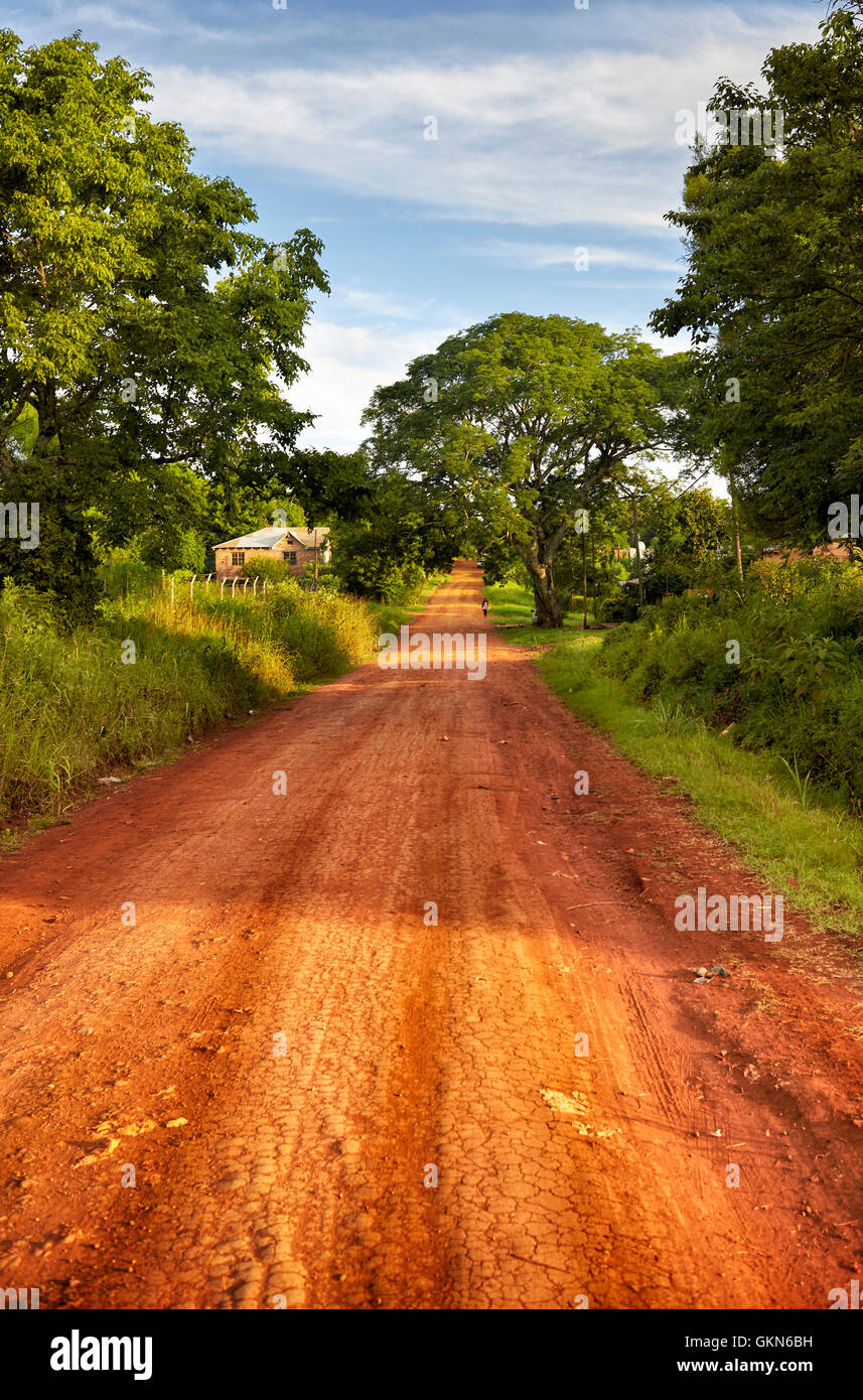 Red soil road. Landscape of Parana Misiones Province of Argentina. countryside.  Rural Landscape. - Stock Image