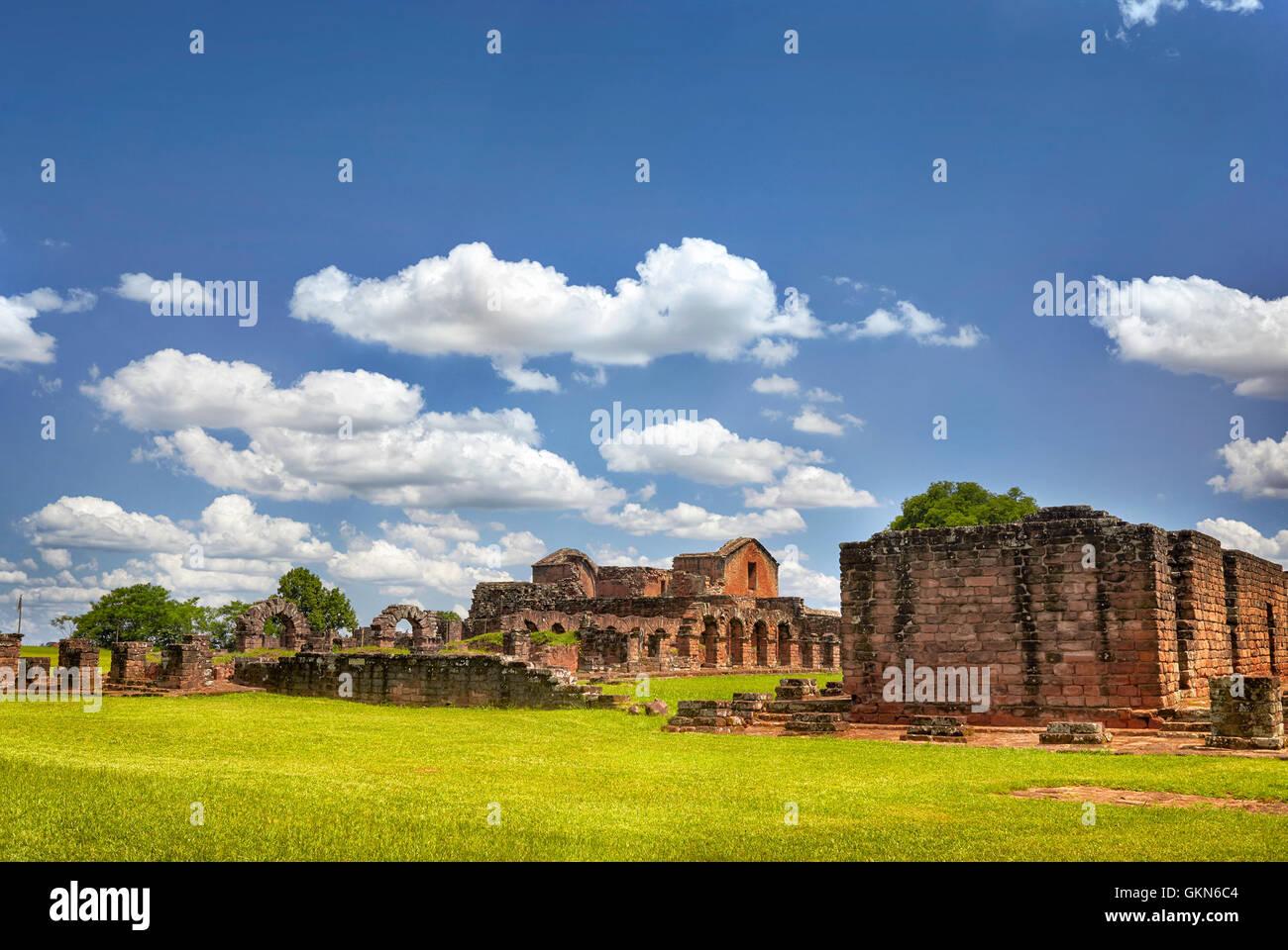 Ruins of the Jesuit Guarani reduction La Santisima Trinidad de Parana, UNESCO World Heritage Site, Paraguay, South - Stock Image