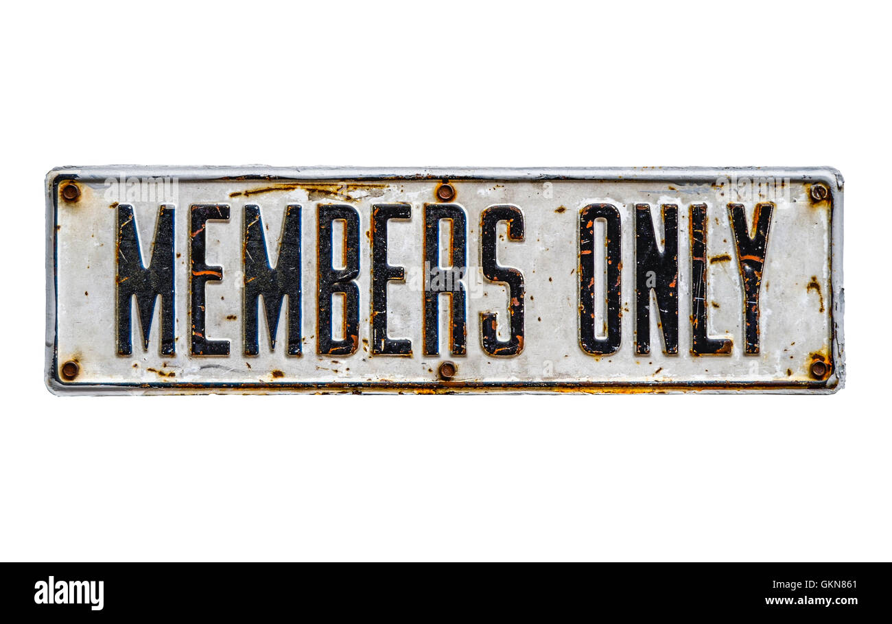 Isolated Rustic Members Only Sign - Stock Image