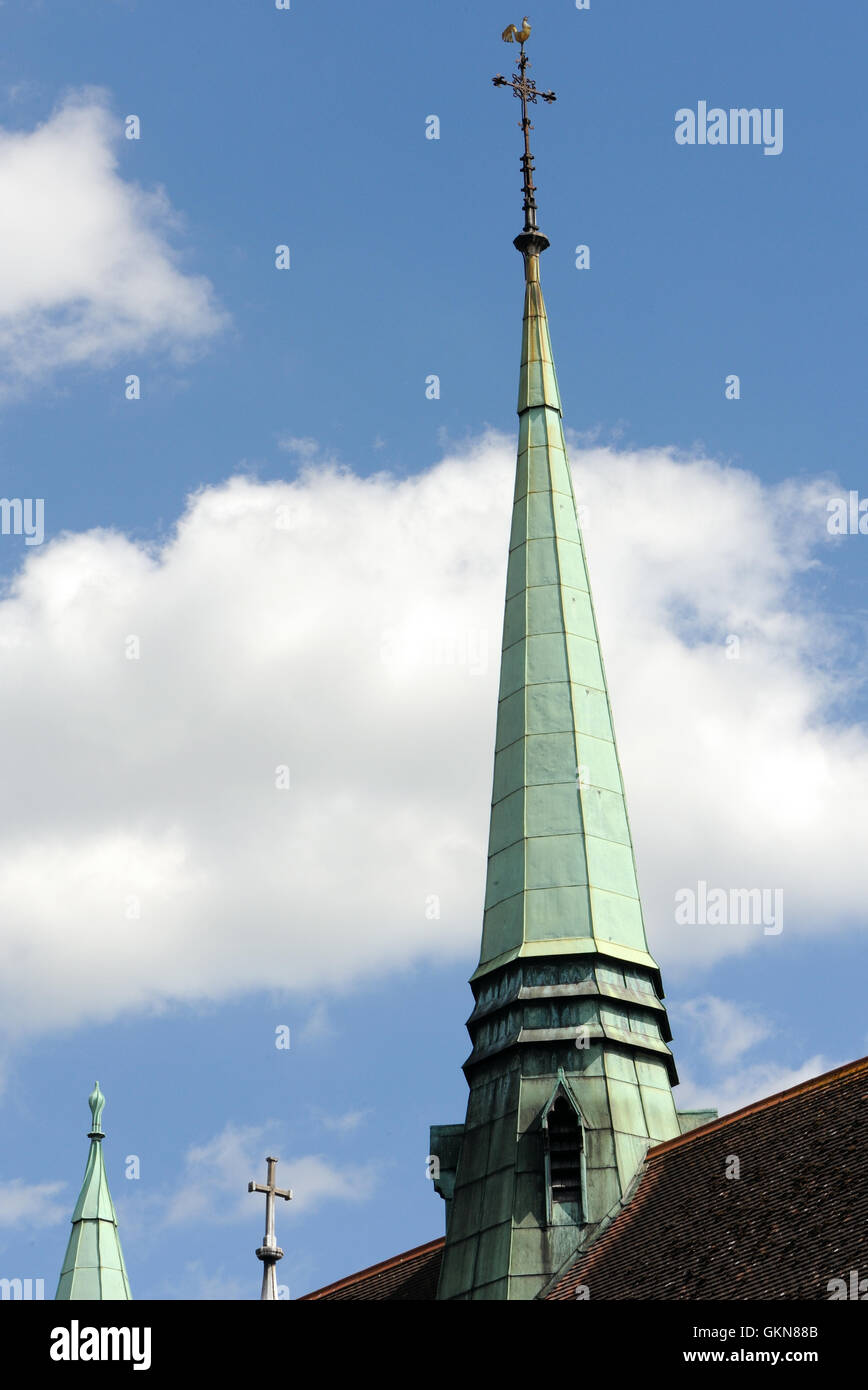 The spire of Christ Church Woking.  Woking, Surrey, UK. - Stock Image