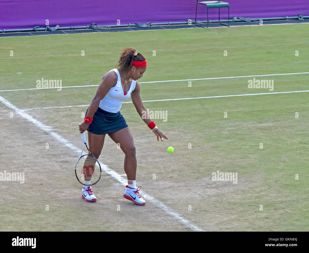 Wimbledon, England. August 2nd, 2012. Serena Williams during one of her doubles matches at the summer Olympics in - Stock Image