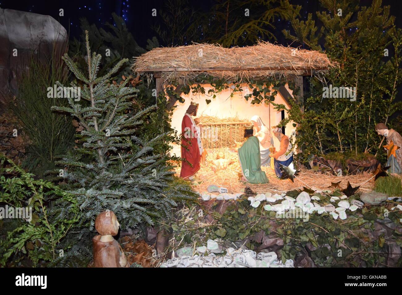 Nativity Scene with baby Jesus, Mary, Joseph and the three Kings Stock Photo