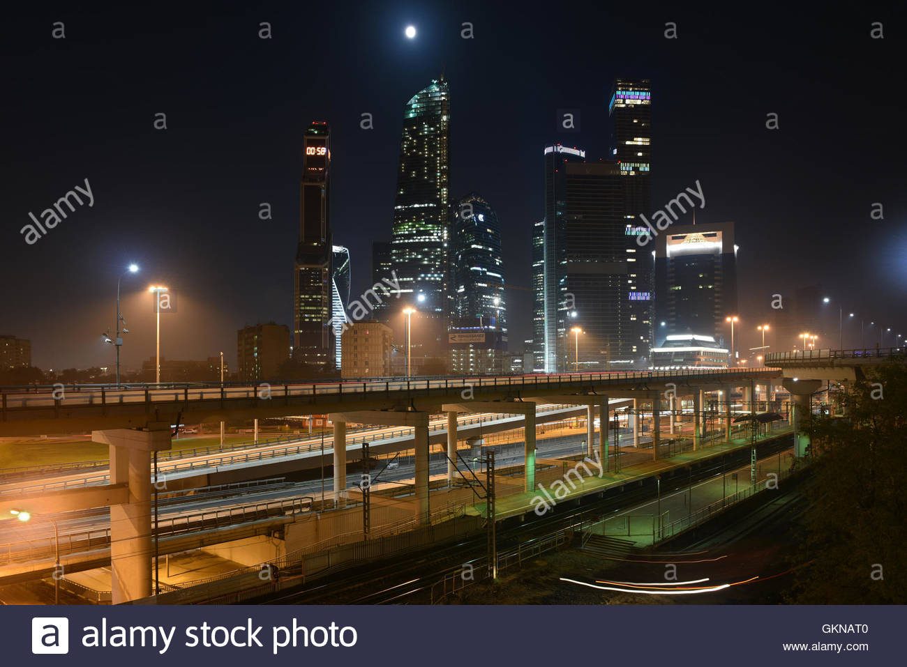 Business center 'Moscow city'. Night panorama of the big city. - Stock Image