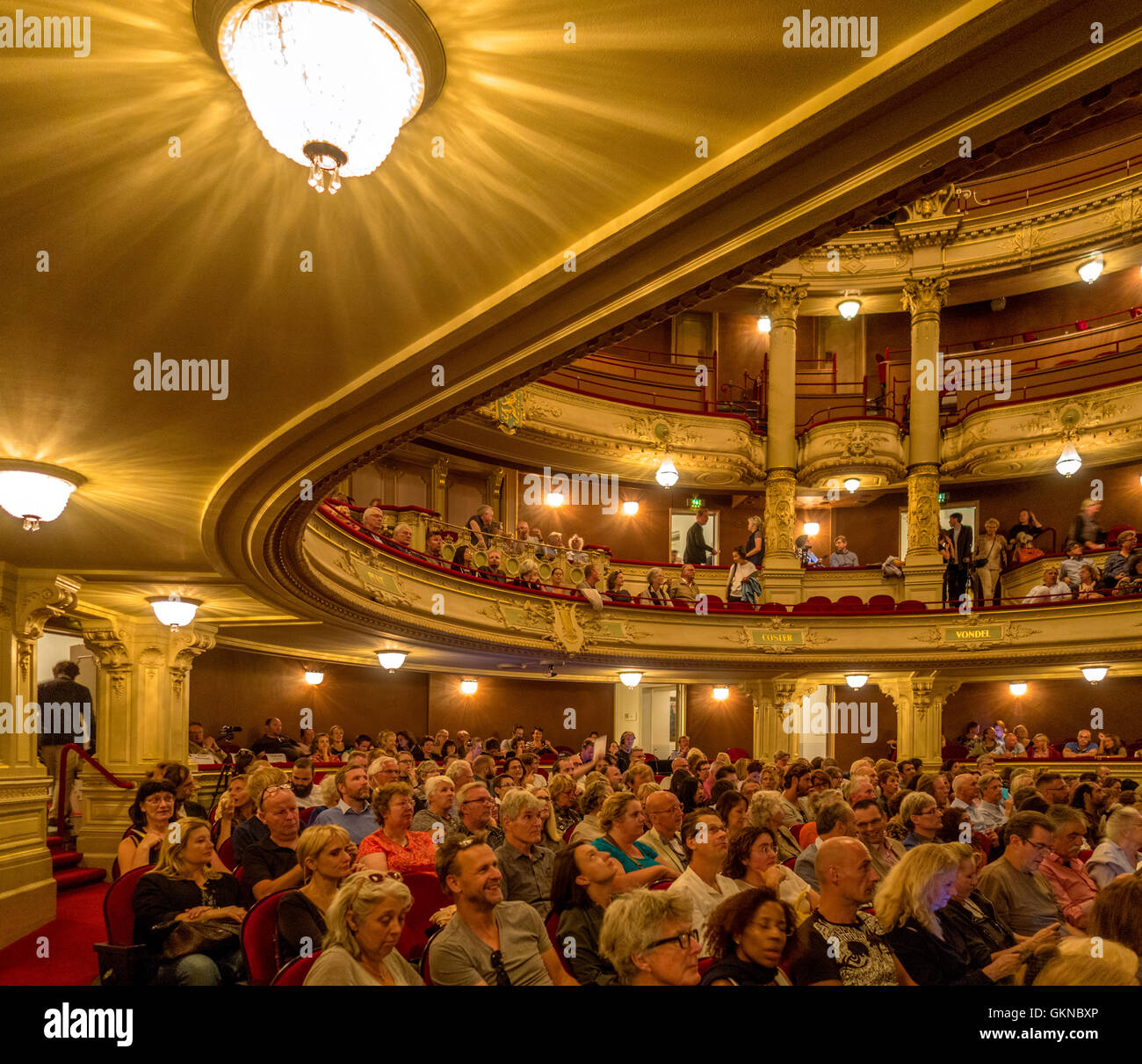 Amsterdam Municipal Theater - Dutch: Stadsschouwburg - interior with people. - Stock Image