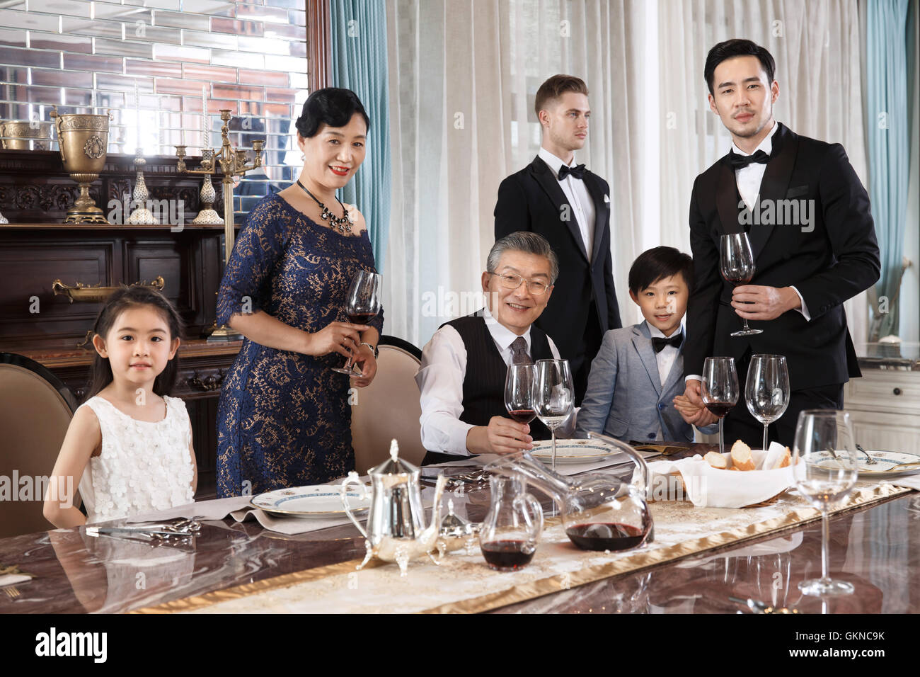 Aristocratic family dinner - Stock Image