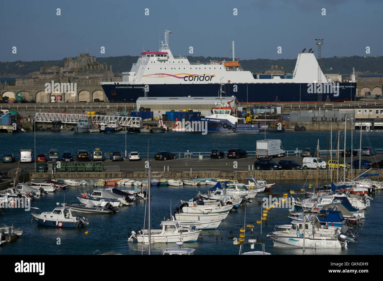 Condor Ferries Freight & Passenger vessel,Commodore Goodwill,berthed in St.Helier harbour,Jersey,Channel Islands, - Stock Image