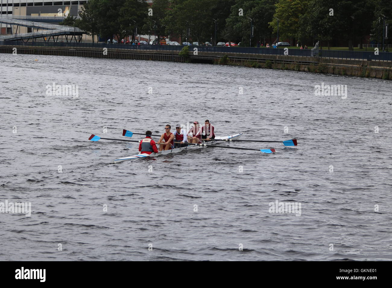 A coxed four of rowers on the River Tees at Stockton-on-Tees. - Stock Image