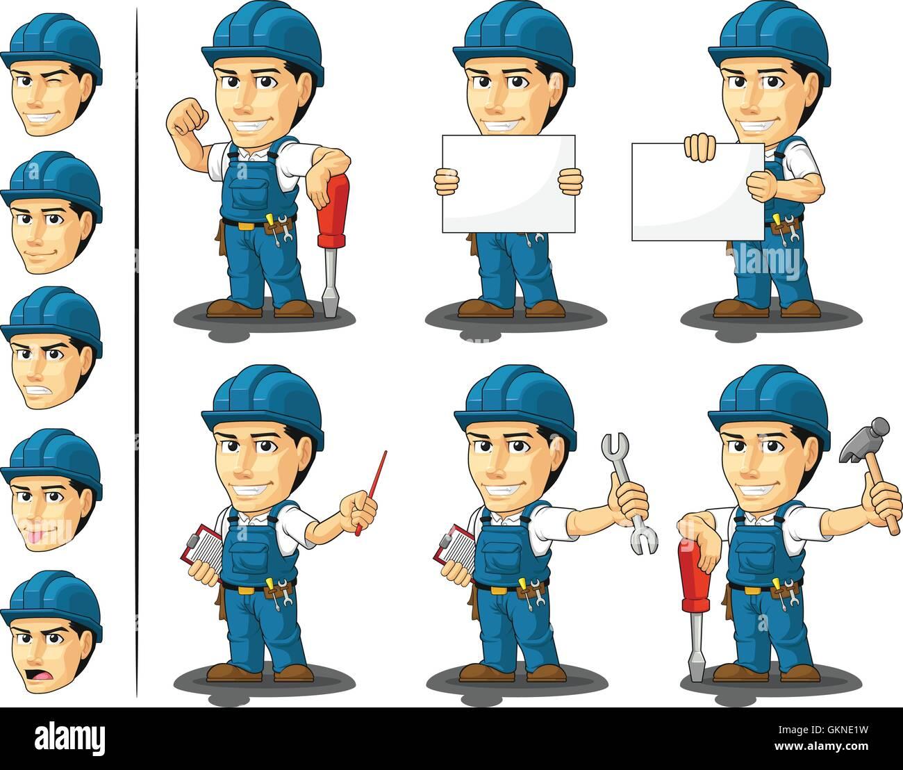mechanic cartoon vector plumber mascot technician workers handyman clipart pics handyman clipart for business card