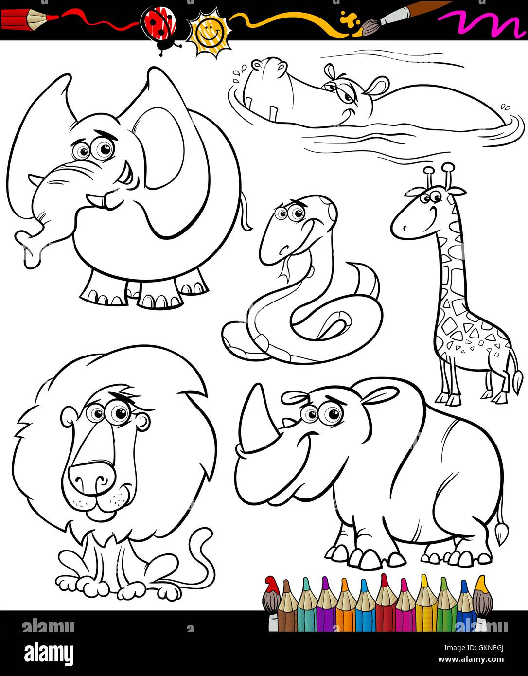 Elephant Lion Cat Big Feline Predator Snake Hippopotamus Giraffe Rhinoceros Cartoon Rhino Laugh