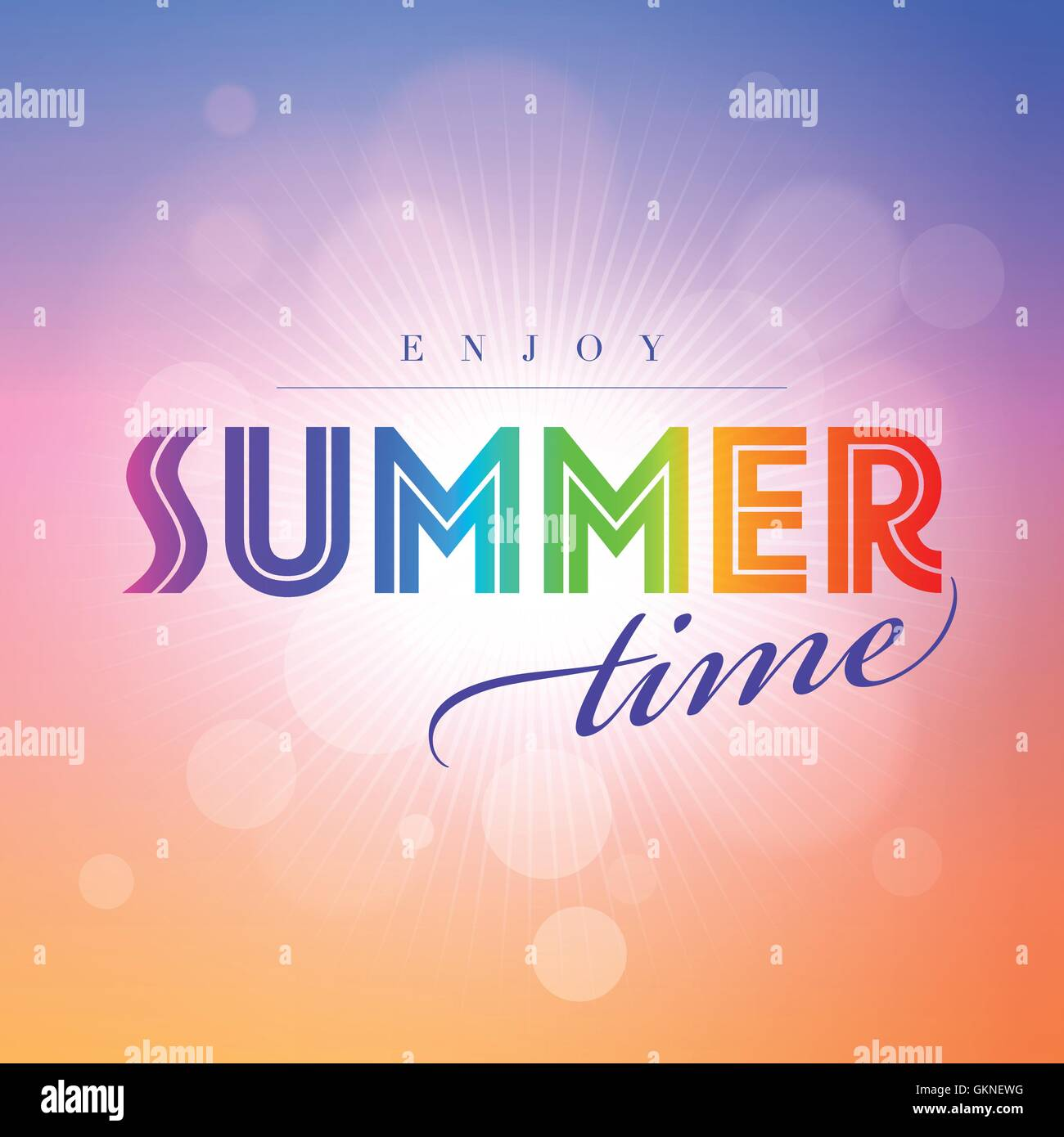 summer summerly message text vector colorful backdrop background blue beautiful beauteously nice - Stock Vector