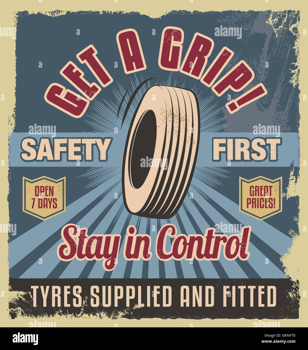 vintage poster garage retro sign vector tyre tire tyres design art wheel graphic engine drive motor - Stock Vector