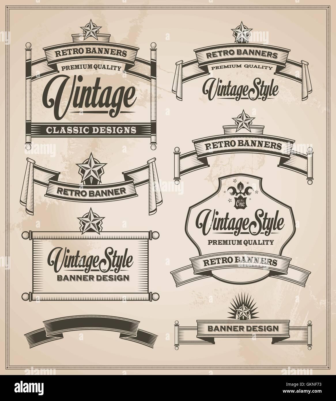 vintage banner retro sign vector frame scroll framework type greeting model build vintage ornament - Stock Image