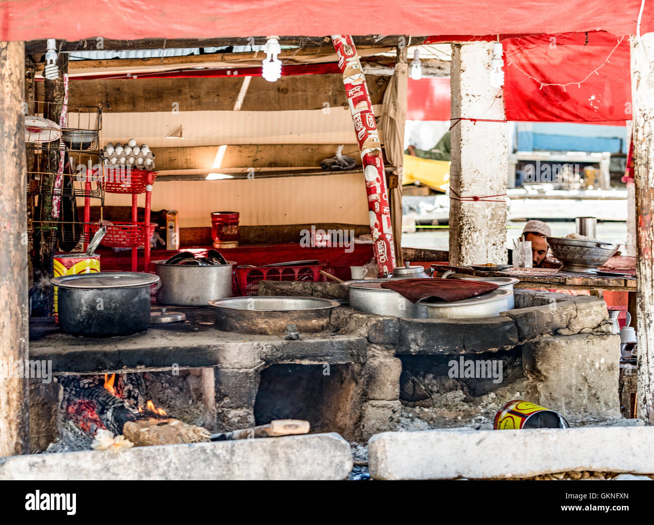 Traditional kitchen in northern Pakistan Stock Photo