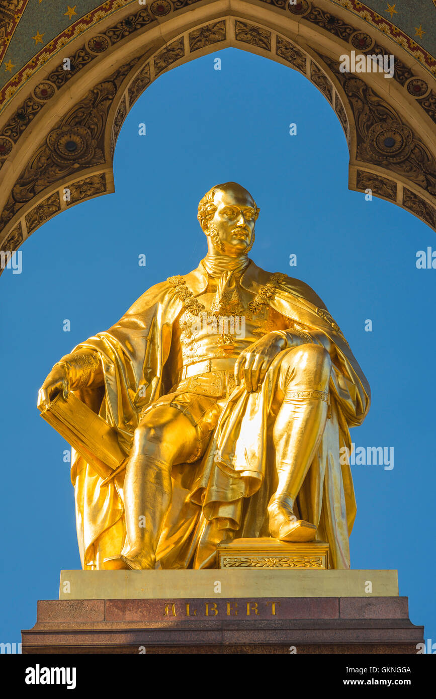 Victorian architecture London, detail of the gold statue on the Albert Memorial in Kensington Gardens, London, UK. Stock Photo