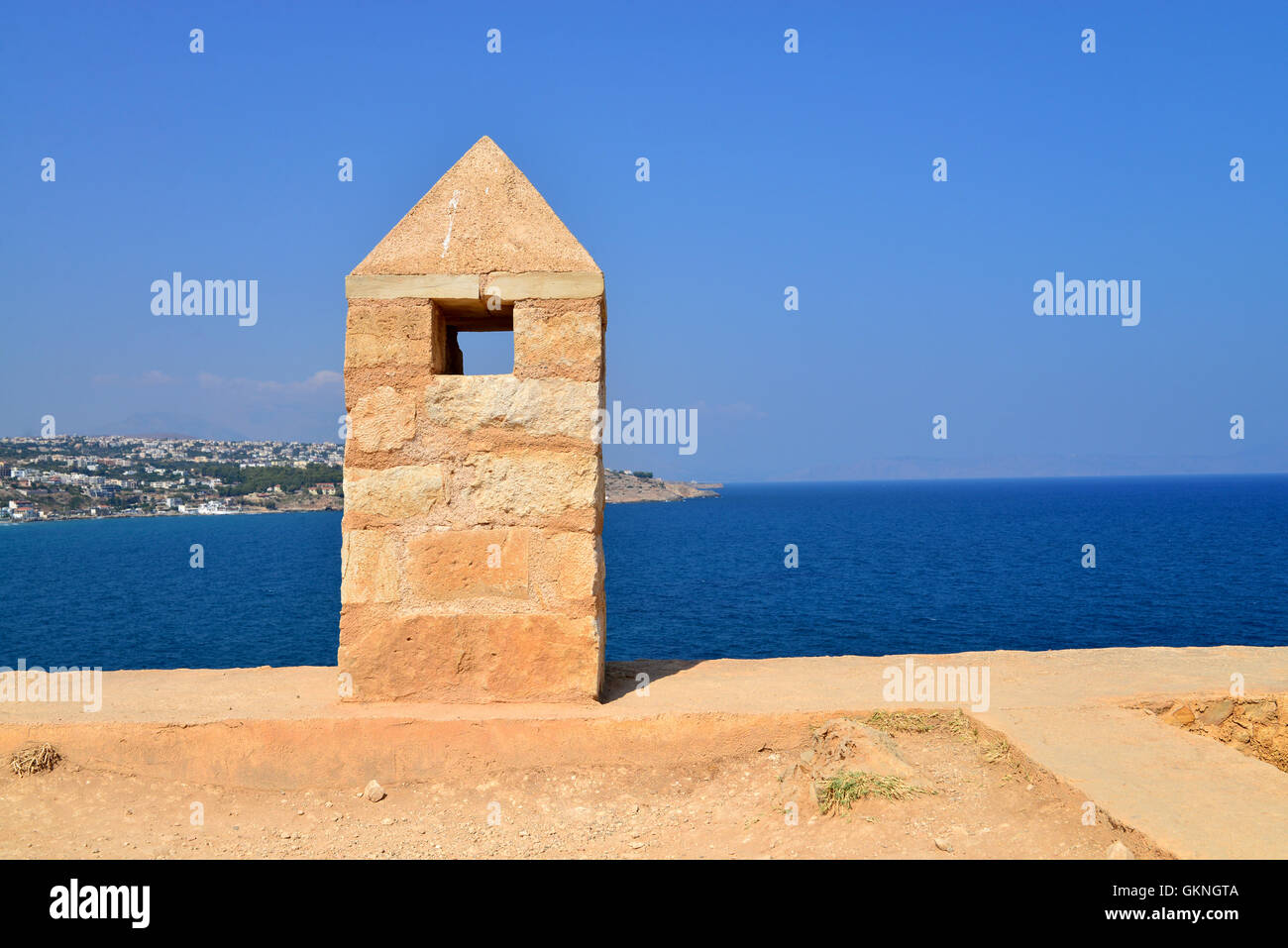 Rethymno city Greece view from Fortezza fortress landmark Stock Photo