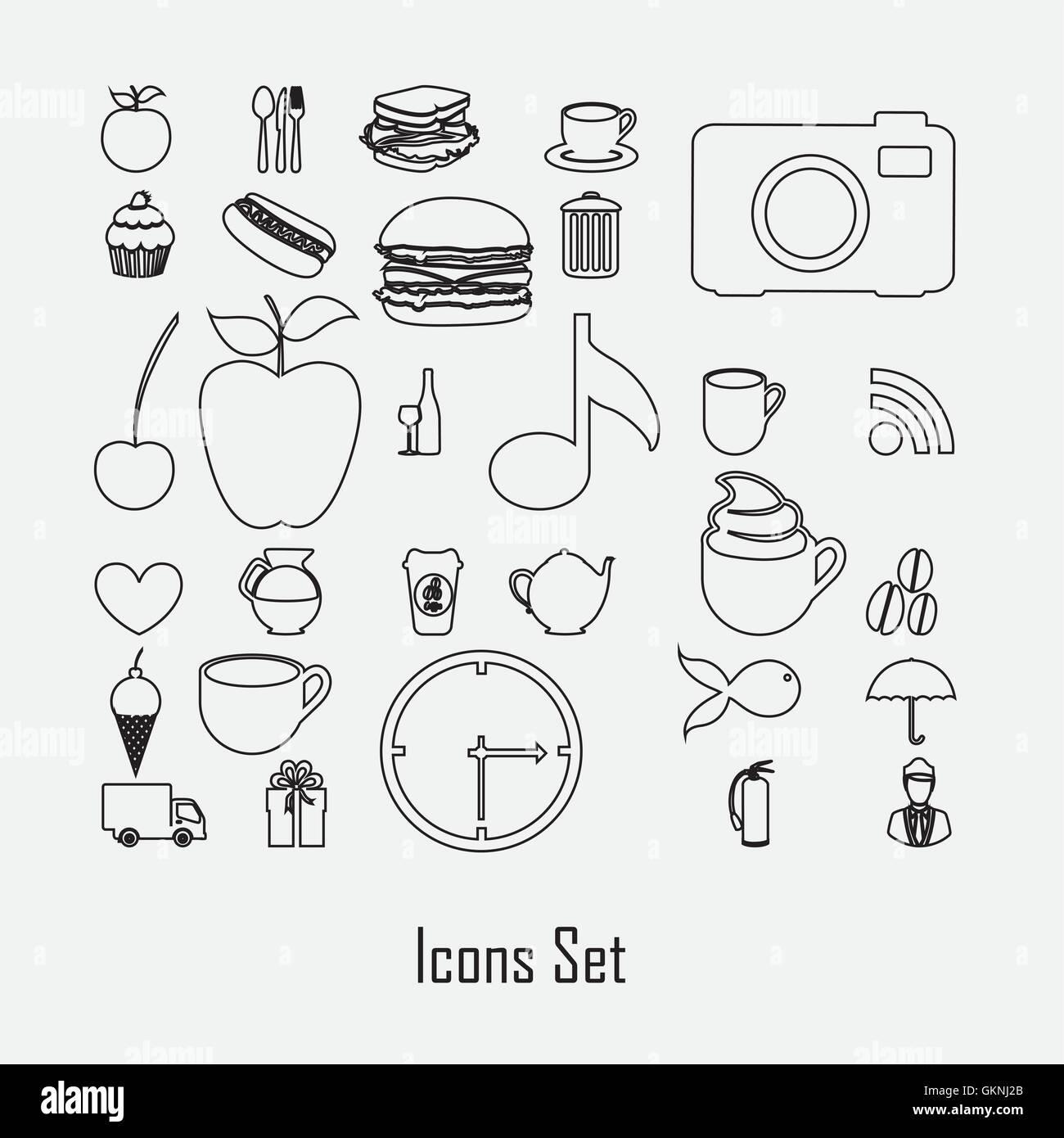 Icon silhouettes - Stock Vector