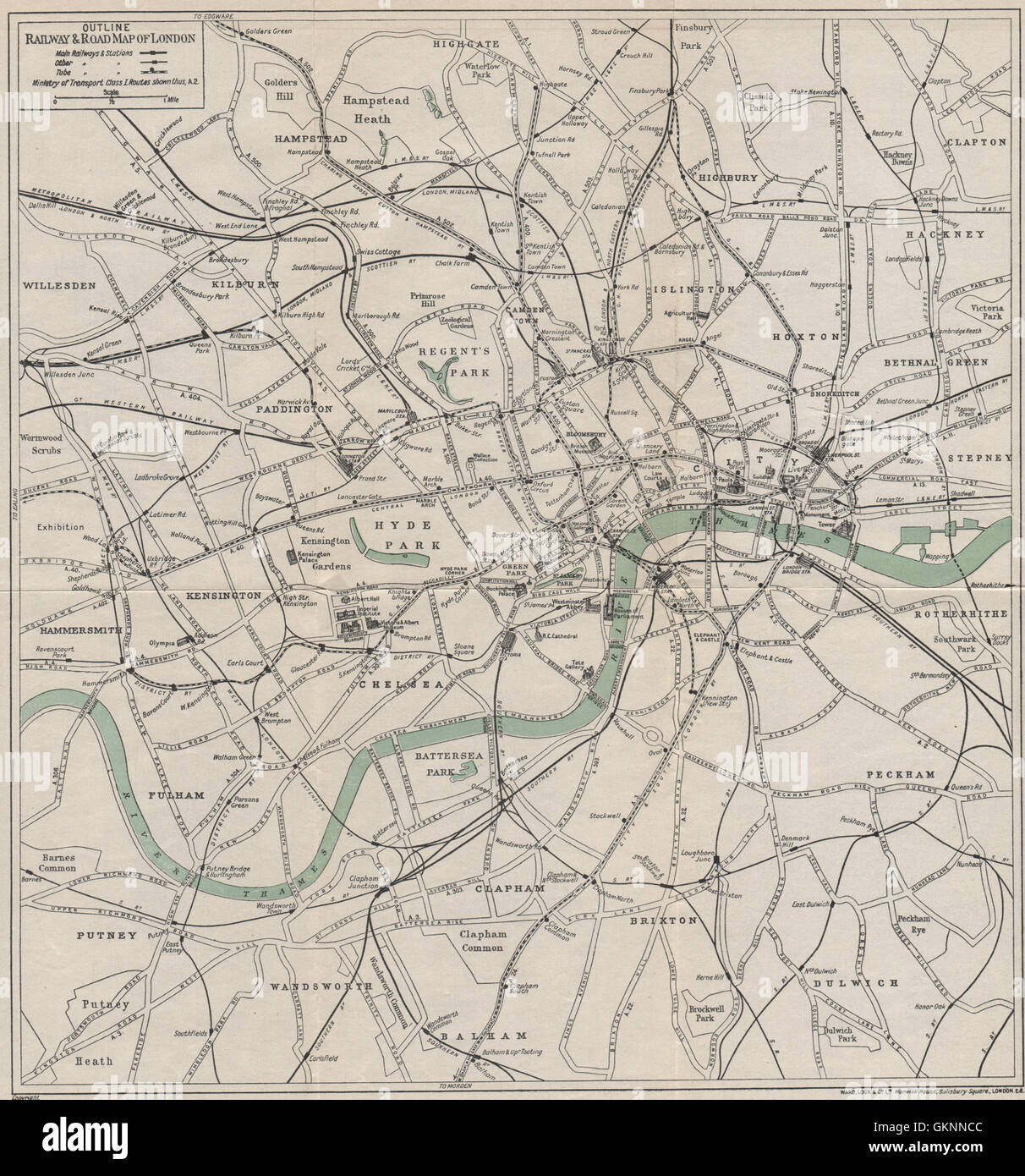 Road Map Central London.Central London Railway Road Map Underground Tube Ward Lock 1930