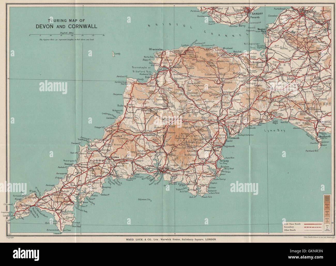 Map Of England Cornwall.Map Of Cornwall England Stock Photos Map Of Cornwall England Stock