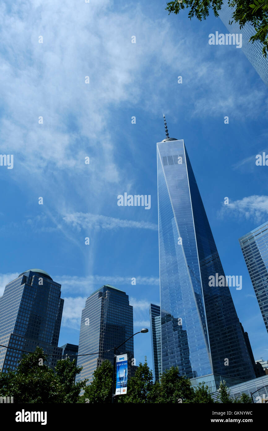 Freedom Tower, One World Trade Center  in New York, Manhattan New York. As viewed from below. In the foreground - Stock Image