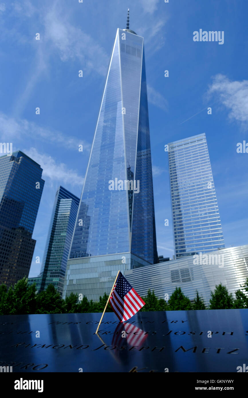 Freedom Tower, One World Trade Center  in New York, Manhattan New York. As viewed from below with an American Flag - Stock Image