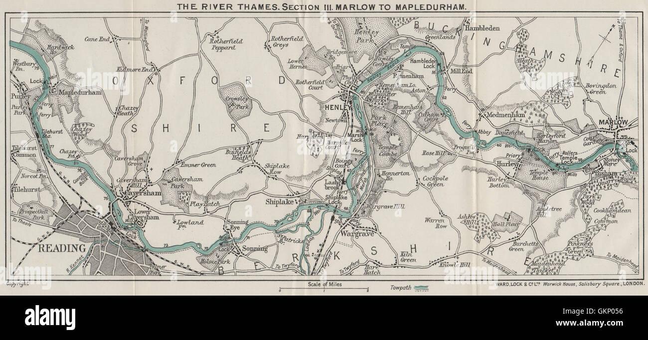 RIVER THAMES (3) Marlow-Henley-Wargrave-Reading-Caversham-Mapledurham, 1912 - Stock Image