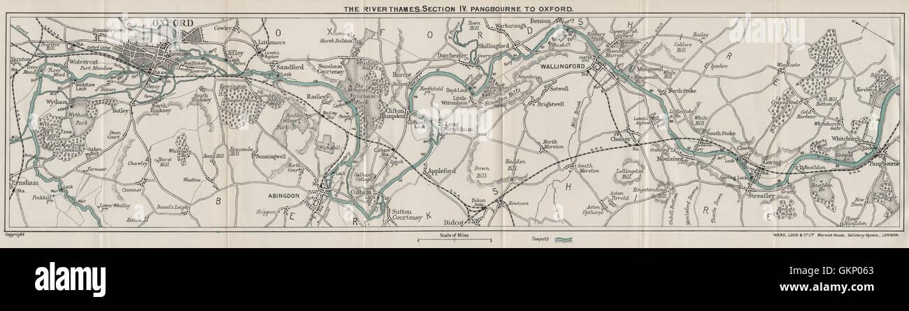 RIVER THAMES (4) Pangbourne-Goring-Wallingford-Abingdon-Radley-Oxford, 1912 map - Stock Image