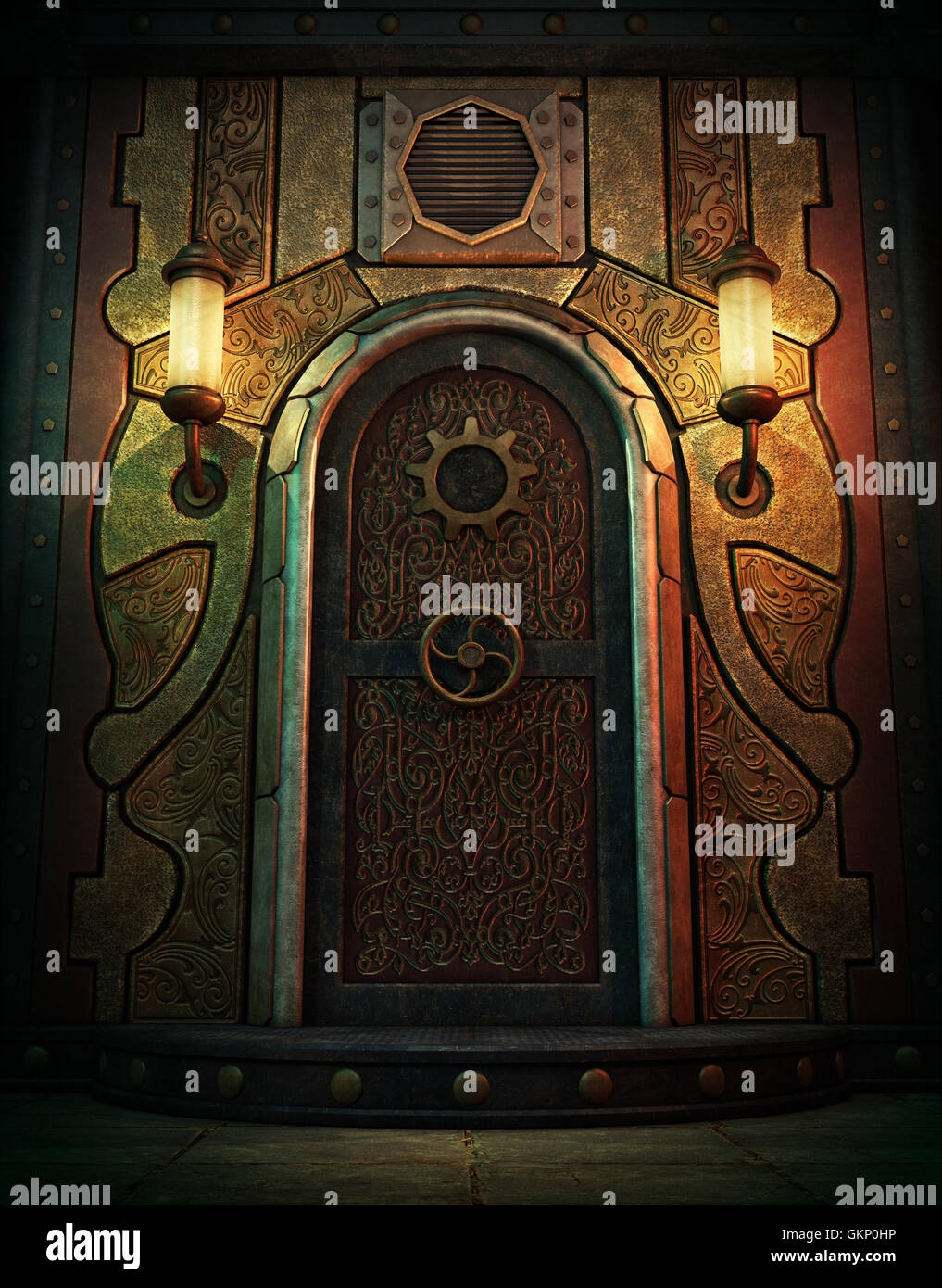 3d computer graphics of a vault door in Steampunk style - Stock Image