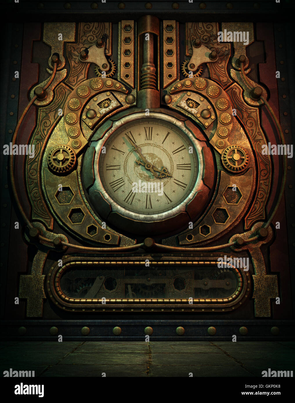 3d computer graphics of a  clock in Steampunk style - Stock Image