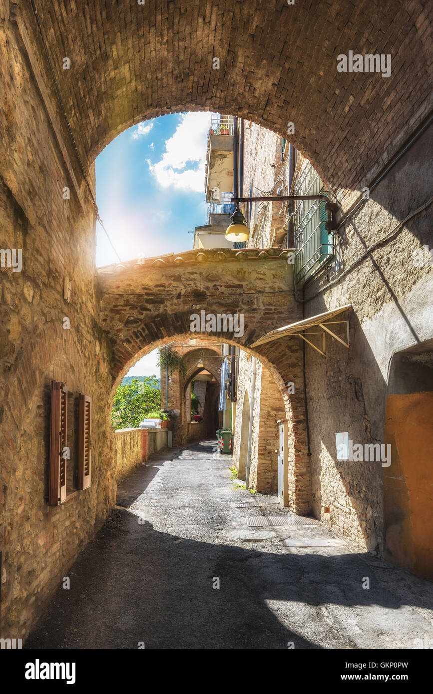 Alleys, streets and crannies in the tourist town in Tuscany, Chianciano Terme, Italy. - Stock Image