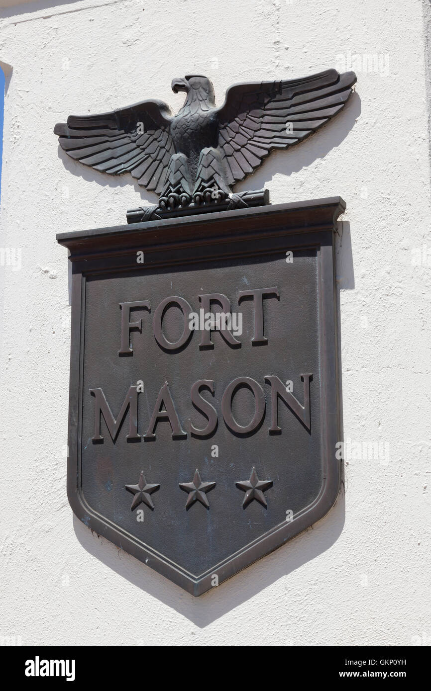 San Francisco, California: Sign at the entrance of Fort Mason in the shape of a heraldic coat-of-arms. - Stock Image