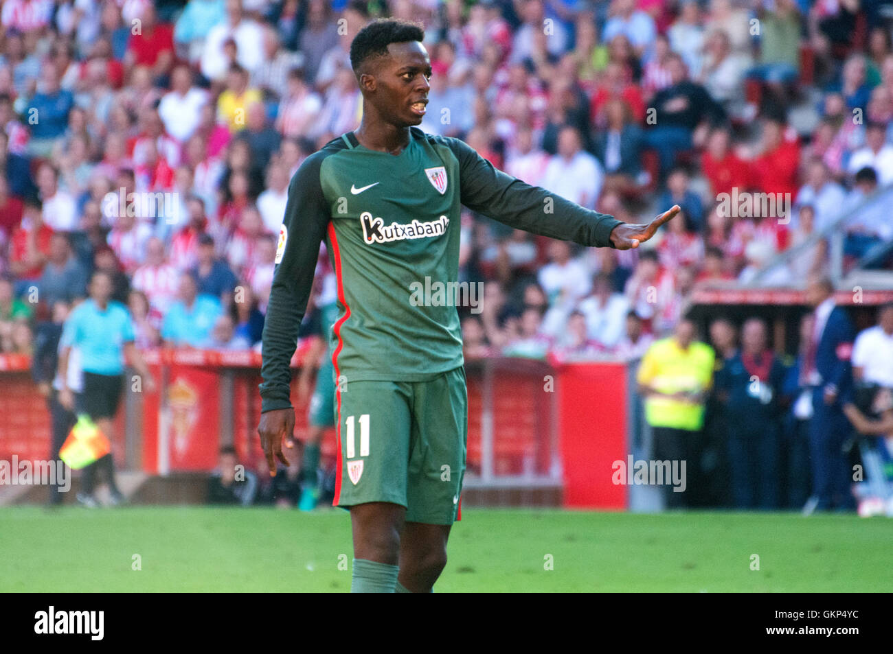 Gijon, Spain. 21st August, 2016. Iñaki Williams (Forward, Athletic Club) while Sporting de Gijon supporters - Stock Image
