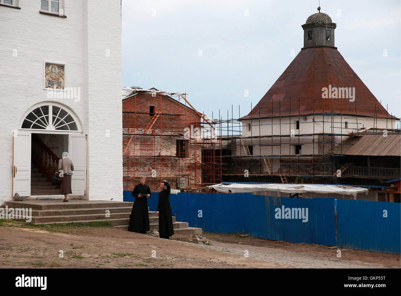 Arkhangelsk Region, Russia. 20th Aug, 2016. Monks at the Solovetsky Monastery on the Solovetsky Archipelago. © Sergei Stock Photo
