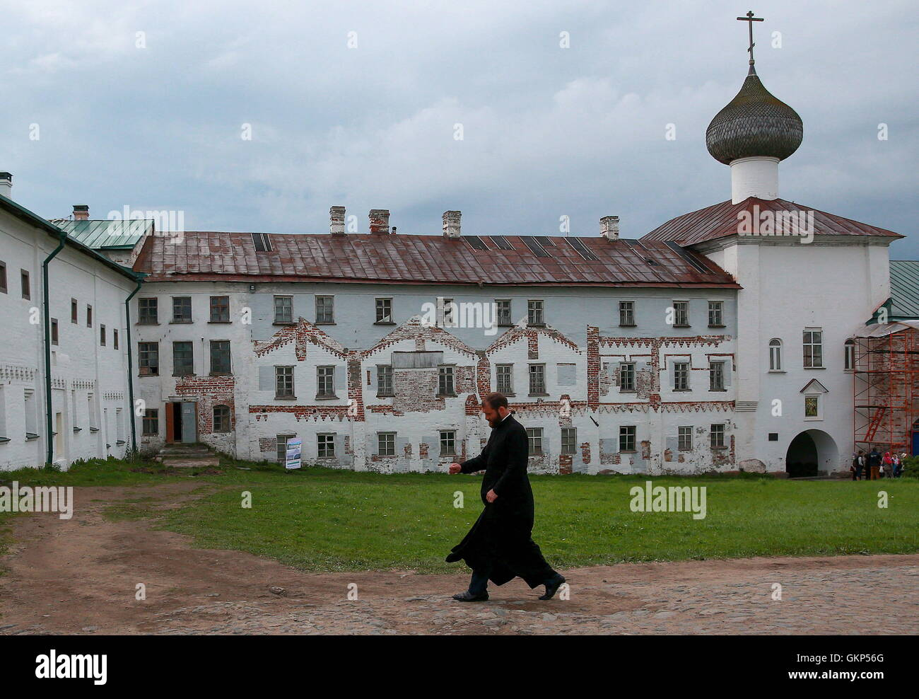 Arkhangelsk Region, Russia. 20th Aug, 2016. A monk at the Solovetsky Monastery on the Solovetsky Archipelago. © Stock Photo