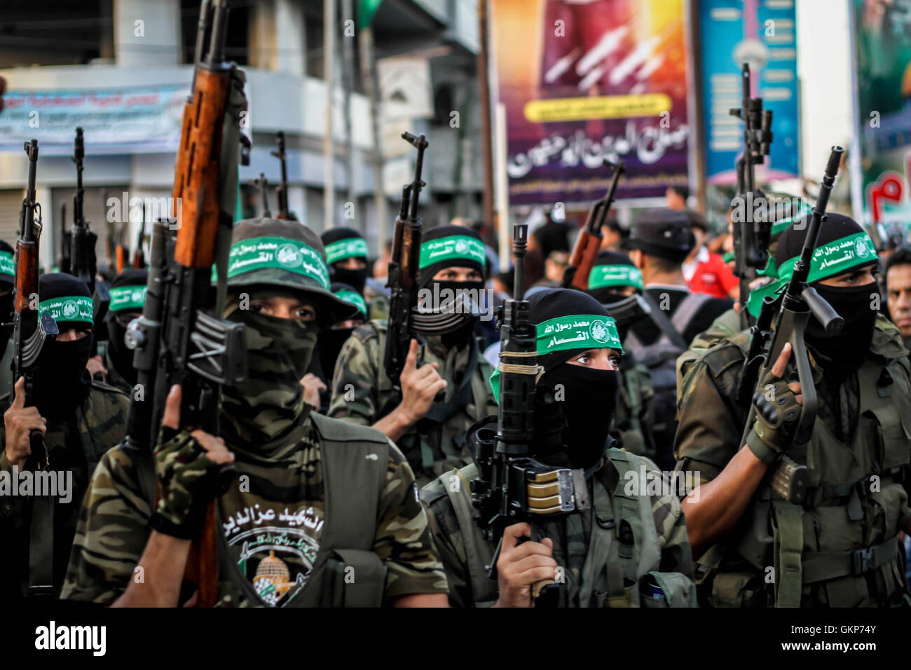 August 22, 2016 - ''Al-Qassam Brigades, the military wing of Hamas organized a military parade in Rafah southern Stock Photo