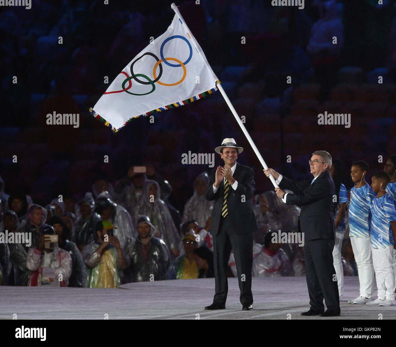 Rio De Janeiro, Brazil. 21st Aug, 2016. Rio de Janeiro Mayor Eduardo Paes (L) and International Olympic Committee - Stock Image
