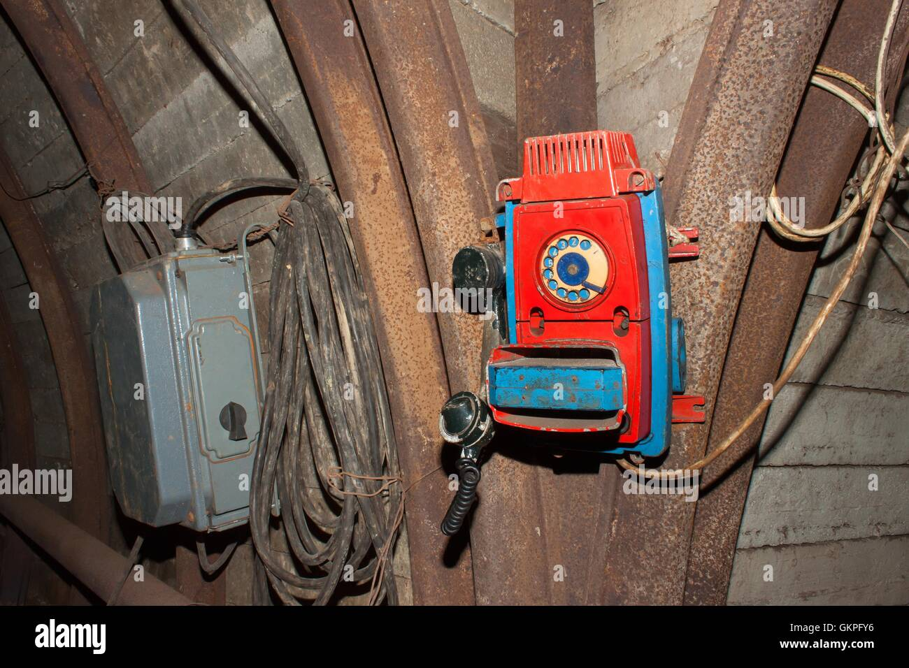 Miner Deserted Stock Photos Images Alamy Old Phone Wiring Coal Mine Communication Line Industrial Used To Communicate With The Miners Underground In