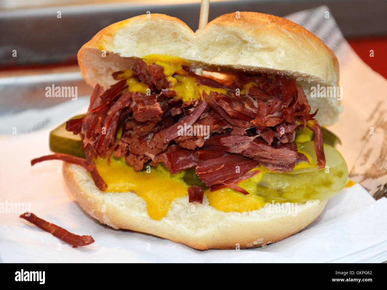Salt Beef Burger - Stock Image