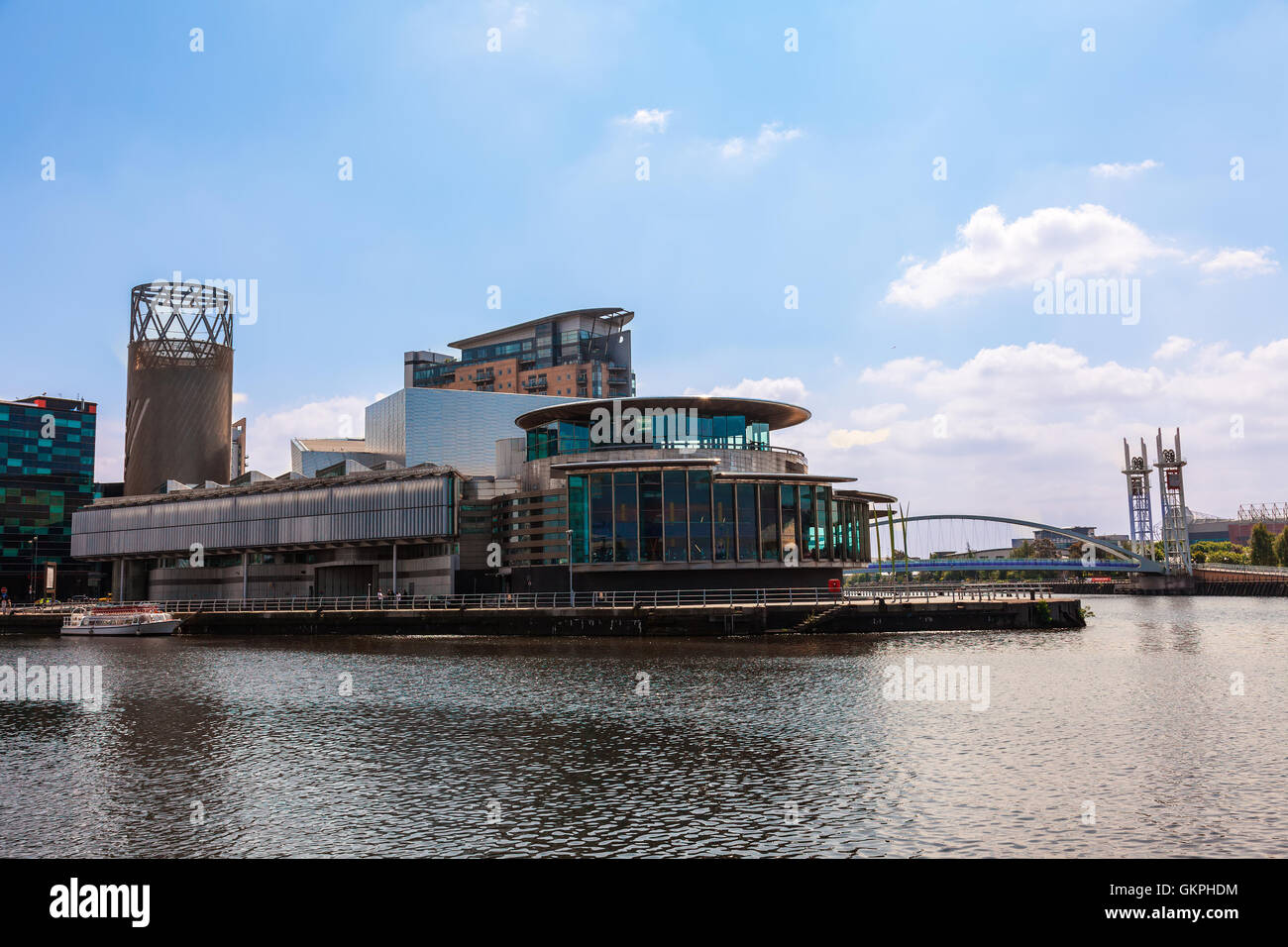 Modern buildings at the Salford Quays in Manchester. - Stock Image