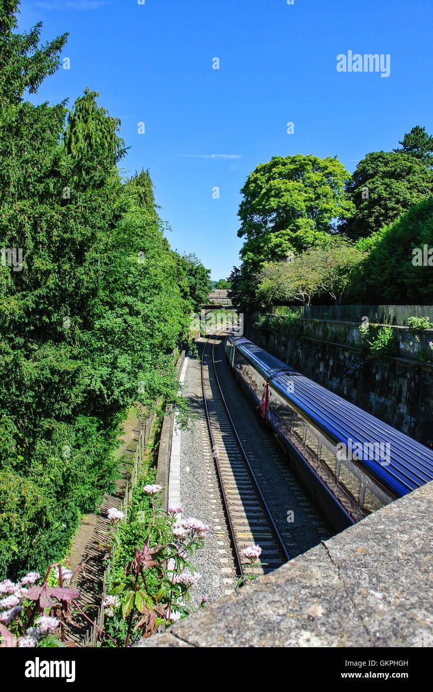 Train line track in bath Somerset England UK - Stock Image