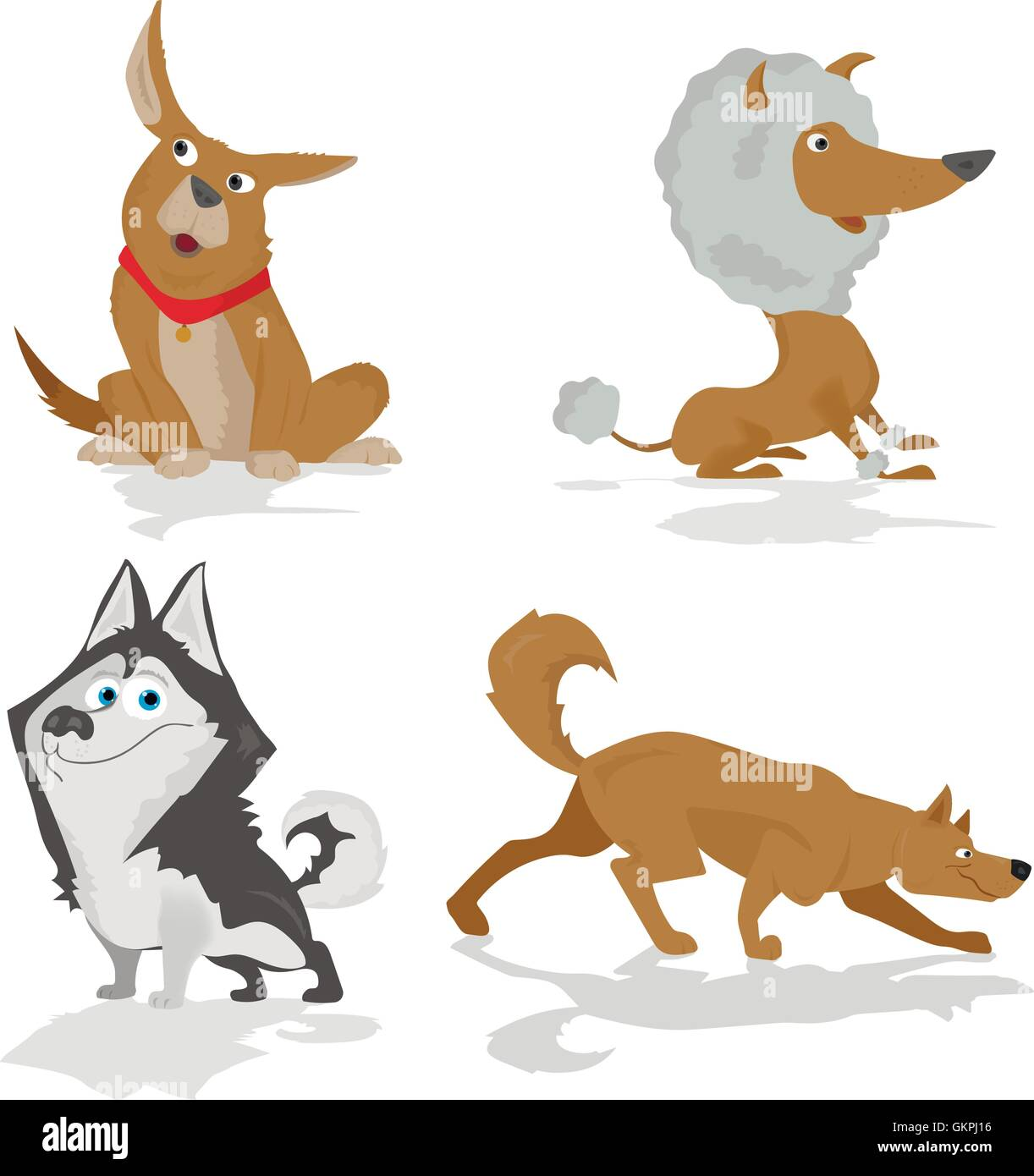 Funny dogs of various breeds standing in side view set isolated on white Stock Vector