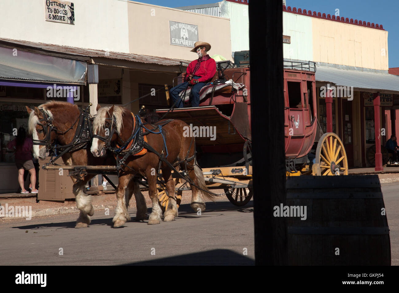 A stage coach and driver on Main Street in Tombstone, Arizona. - Stock Image