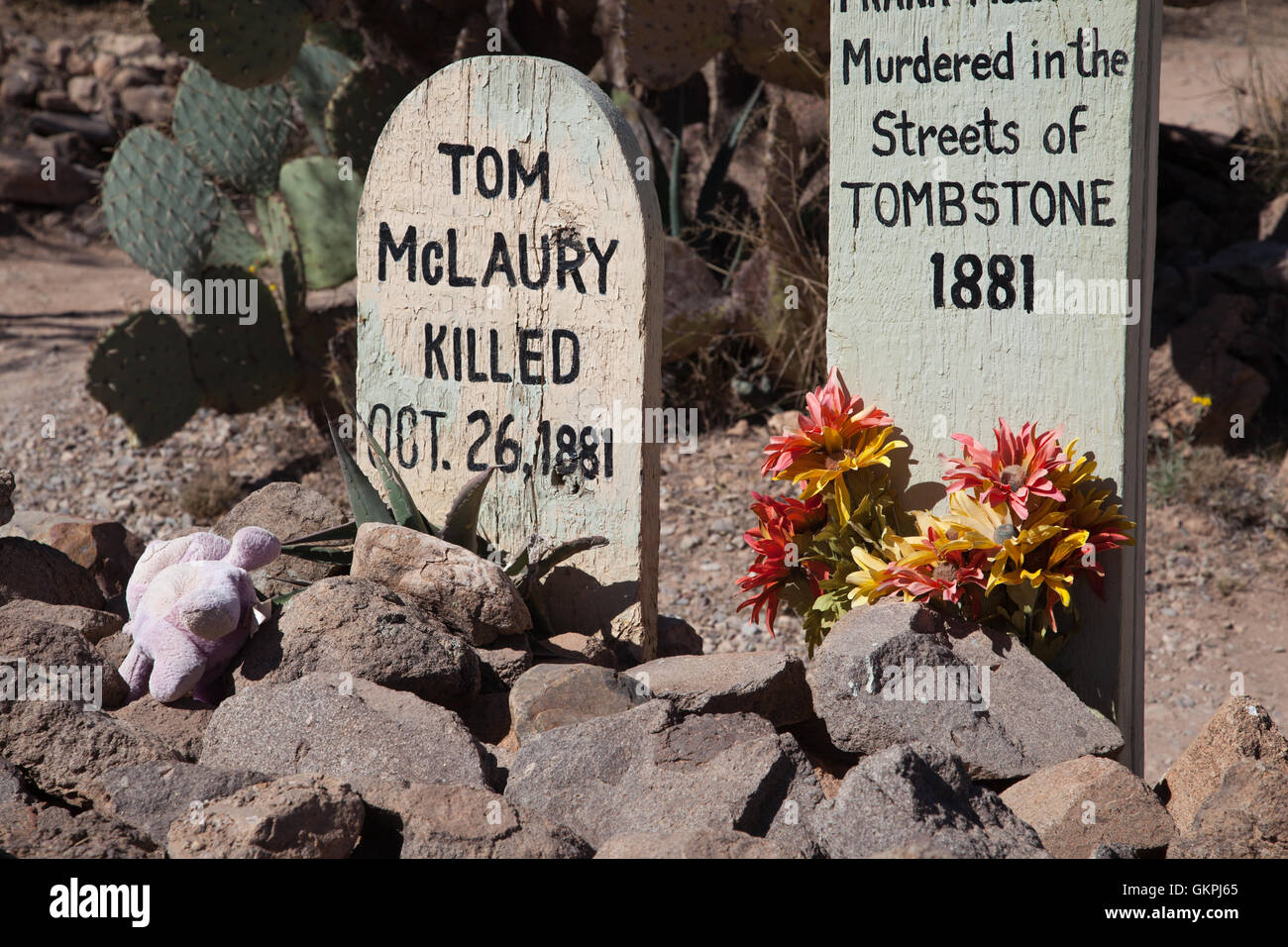 The grave markers of Tom McLaury and Billy Clayton murdered on the streets of in 1881. - Stock Image