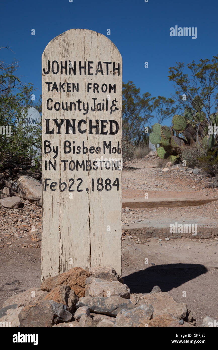 The grave marker for John Heath in Boot Hill Cemetery in Tombstone, Arizona - Stock Image