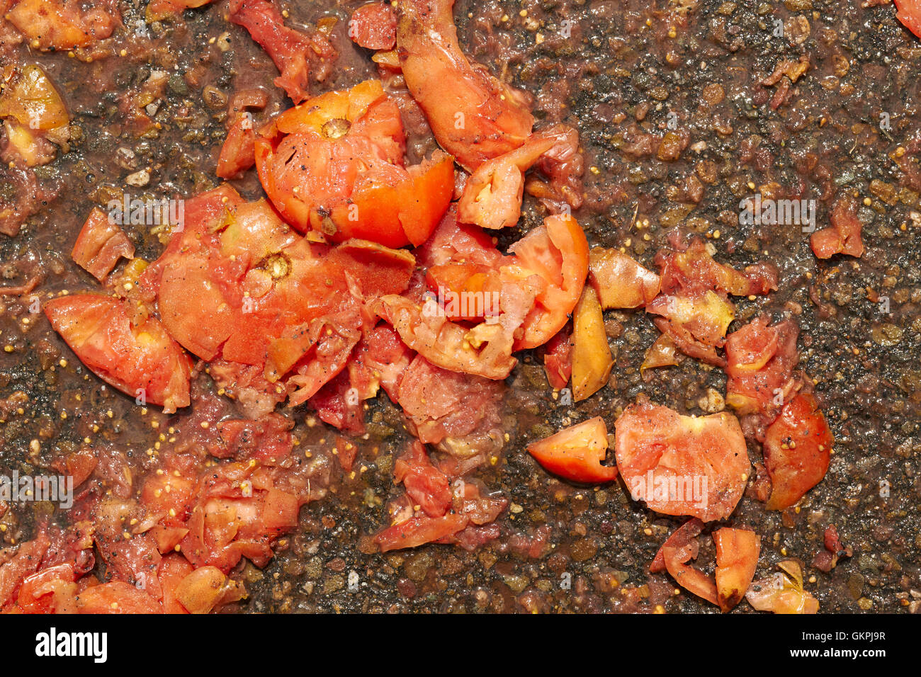 squashed rotten tomatoes leftover from the Tomato Fights, Pittston Tomato Festival, Pittston, Pennsylvania, USA - Stock Image
