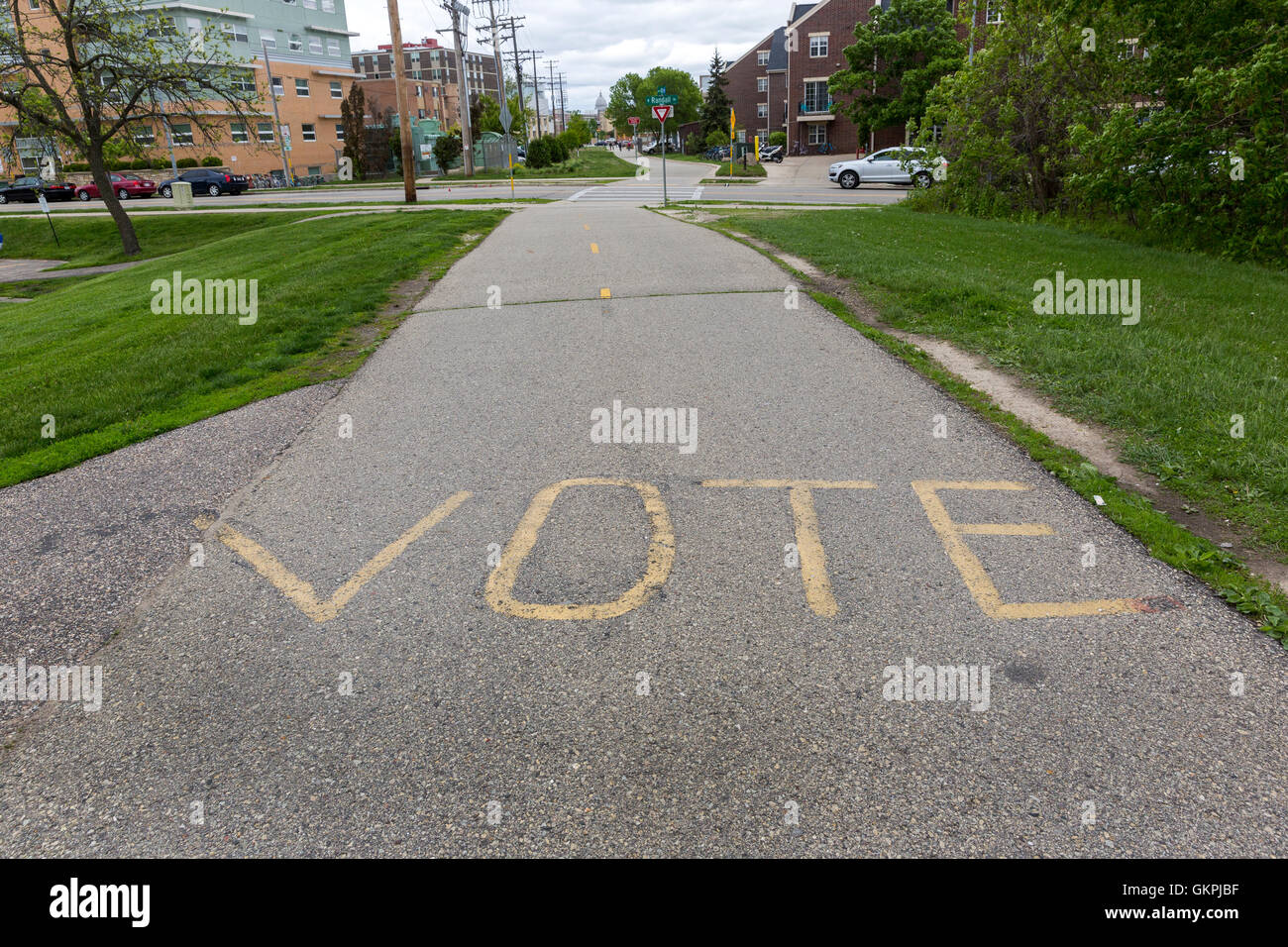 VOTE painted on a bike path at the University of Wisconsin, Madison - Stock Image