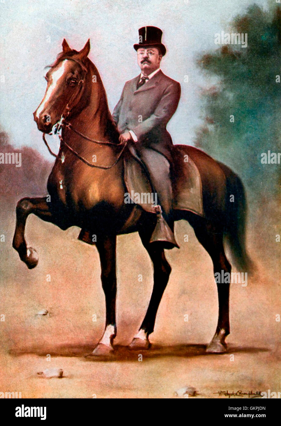 President Theodore Roosevelt. Pastel study by V. Floyd Campbell after a snapshot photograph. Date 1903 - Stock Image