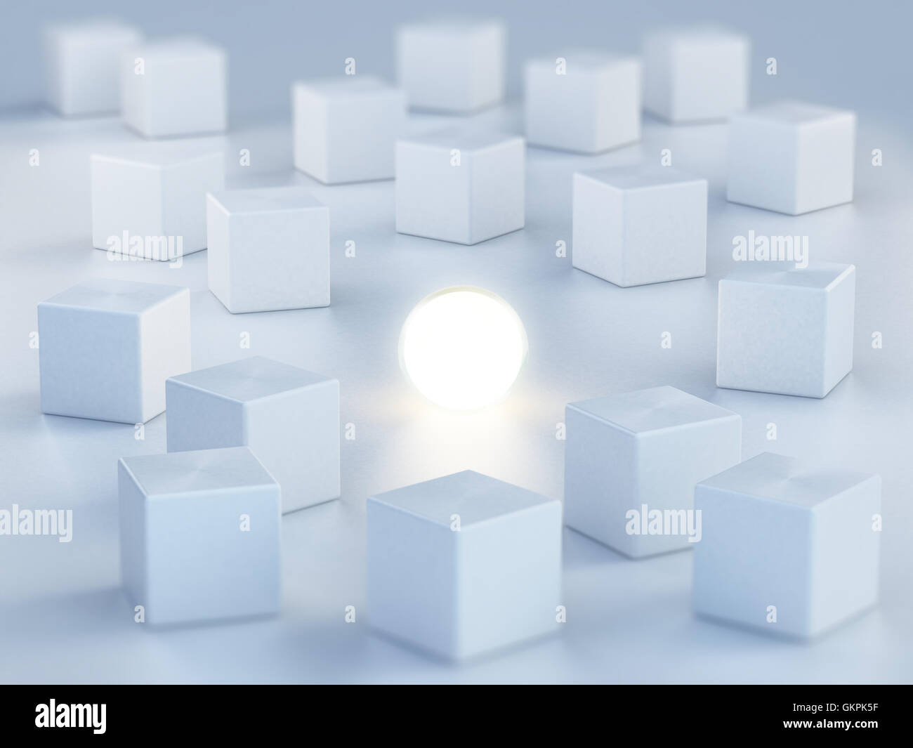 Sphere emitting light standing out among boxes. 3D illustration. - Stock Image