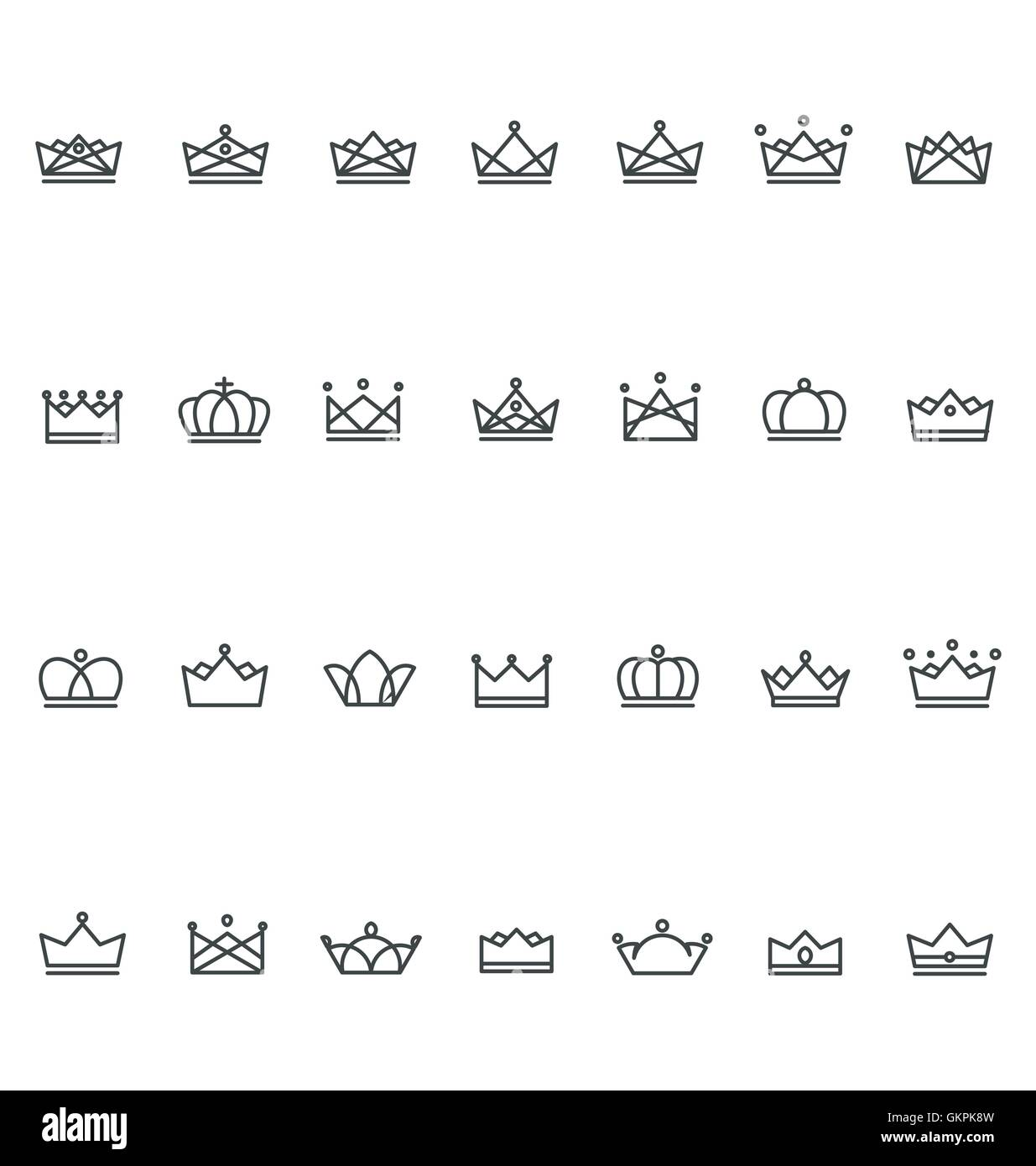Outline Crown Icon - Stock Image